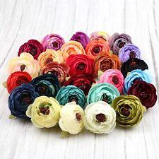 Mix Artificial Silk Flower Heads 20P Bulk Fake Rose Camellia Peony DIY Craft