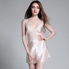 Women Lace Mesh Faux Silk Nightgown Sexy Splice Pajama Nightdress Robe Sleepwear
