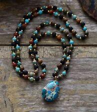 Natural Beaded Turquoise, Lava Stone & Agate Teardrop Necklace Boho Mala Yoga