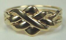 Antique Art Deco Unisex Puzzle Wedding Band 18K Yellow Gold Ring Size 12 UK-X1/2