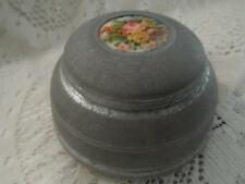 Antique H-Painted Porcelain Silver Metal Ball Ftd Musical Vanity Powder Box Jar