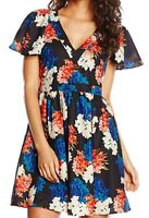 Wolf & Whistle Women's Blue and Orange Floral Print Dress SIZE UK10