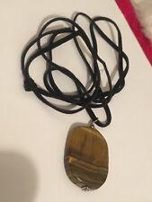 Tigers Eye Semi Precious Stone Pendant Black Cord Necklace Z5