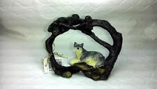 """Brand New Faux Wood Branch Wolf Figurine Wildlife Novelty Gift 3 3/4""""Lx3""""H"""