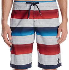 E1232 - O'neill Santa Cruz Stripe Board Shorts * NWT Mens 34 Rd Wht Blue  #25263