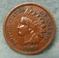1908-S INDIAN HEAD PENNY VF- * US Coin