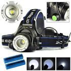 Tactical Headlight Cree XM-L 25000LM Rechargeable T6 LED Headlamp+Batt+Charger