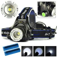 Tactical Headlight Cree XM-L 20000LM Rechargeable Q5 T6 LED Headlamp+Charger NEW