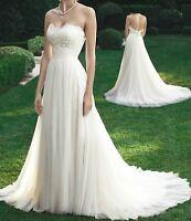 Brautkleid Hochzeitskleid Kleid mit Schleppe für Braut Spitze Weiß S - 2XL BC559
