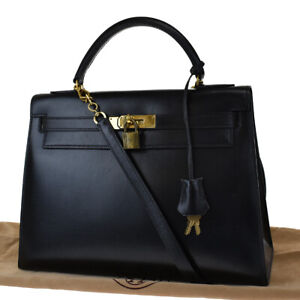 AUTHENTIC HERMES KELLY 32 2WAY HAND BAG BOX CALF LEATHER BLACK CADENA 790LB195