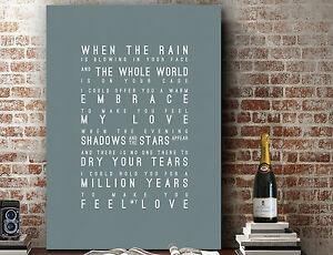 Adele Make You Feel My Love | Word Wall Art Song Lyrics PRINT | CANVAS GIFT