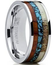 Deer Antler, Koa Wood w Turquoise New* Men's Titanium Ring Wedding Band w Real