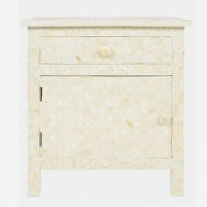 MADE TO ORDER Bone Inlay Indian Handicraft Bedside Cabinet Table White Geometric