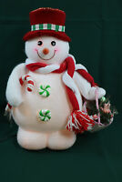 Fiber Optic Snowman Christmas Holiday Peppermint Candy Cane Color Changing Cute!