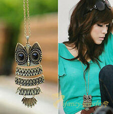 Retro Women Bronze OWL Animal Hollow Pendant Long Chain Necklace Jewellery