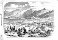 Original Old Antique Print 1860 Camp Sikh Cavalry Cowloong Hong-Kong Prob 19th