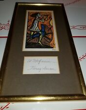 IRVING AMEN FRAMED GLASS PRINT BOY WITH FLUTE AND DOG WOODCUT LITHOGRAPH SIGNED