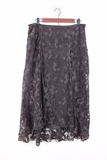 J JILL Stretch Lined Gored Velvet Trim Assymetrical Hem Lace Skirt Brown 10