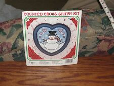 The New Berlin Co Counted Cross Stitch Kit  Snowman /Heart Frame