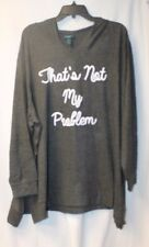 NEW WOMENS PLUS SIZE 3X GRAY CUTE THAT'S NOT MY PROBLEM HOODED SWEATSHIRT HOODIE