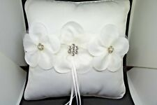 Designer Bridal Wedding CAMELLIA INSPIRED 8 Inch WHITE SATIN RING PILLOW US Ship
