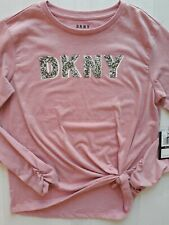 DKNY Girls Shirt L (14-16) Pink With DKNY Logo In Silver Bling! NWT!
