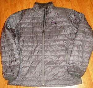 Exc. Mens Patagonia Nano Puff Gray Quilted Primaloft Jacket Full Zip-Large