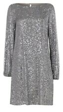 Wallis Silver Sequin Long Sleeved Lined Shift Dress - Size 14