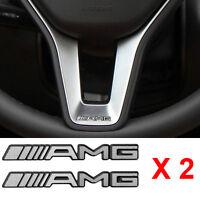 2 PCS Alloy ALUMINIUM AMG Steering Wheel Sticker Badge Logo Emblem S66