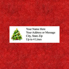 "60 Personalized  Christmas Tree  Address Labels  1"" x 2.625""  FREE USA SHIPPING"