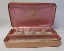 Vintage 1950s Jewelry Travel Case Hard Shell Hinged Box Light Pink Velvet Lined