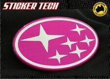 SUBARU STAR PINK AND CHROME GRILL BADGE EMBLEM TO SUIT MY99 GC8 WRX STI 95 TO 99