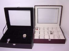 Cassetta con vetro per 18 orologi in similpelle nera ed interno velluto nero
