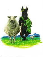5x7 PRINT OF PAINTING RYTA SCOTTISH TERRIER SHEEP FOLK NEW YEAR OF THE SHEEP