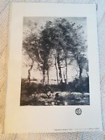 Peasants Near a Pool from the Picture by Camille Corot - 1902 Book Print