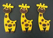 3 Felt Giraffes Die Cut Craft Embellishments, card toppers