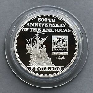 BAHAMAS  Silver coin 5 Dollars 1991  500Th ANNIVERSARY of The AMERICAS   SHIPS