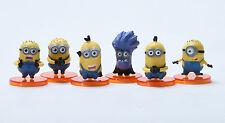 "Despicable Me 2 The Minions Role Figure Display Toy PVC 6Pcs Set 4cm 1.6"" New"