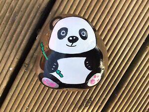 HAND PAINTED PEBBLE STONE CUTE GIANT PANDA BEAR 🐼 GIFT ROCK ART KEEPSAKE