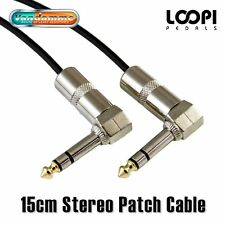 """15cm 1/4"""" Stereo Right Angle 6.35mm Effect Patch TRS Lead - Van Damme Cable"""