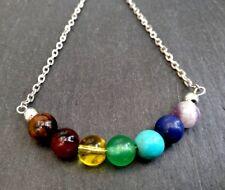 gemstones silver necklace Chakra Healing Crystal