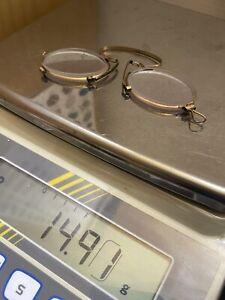 Antike Brille golden vergoldet Nasenbrille Zwicker