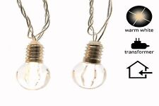 LED Lichterkette Glühbirnen Design 20 warmweisse LED klares Kabel  3,80 m