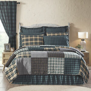 VHC Brands Rustic California King Quilt Green Pine Grove Chambray Bedroom Decor