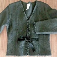 Kenji Sweater Jacket Medium Black Hook Close Ribbon Lace Steampunk Women Wool