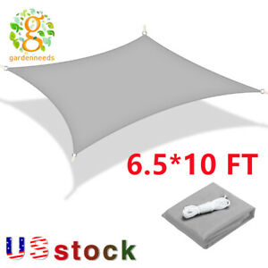 6.5*10FT Sun Shade Sail Canopy Rectangle Sand Uv Block Sunshade Outdoor Gray US