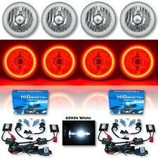 """5-3/4"""" Red SMD LED Halo Crystal Clear Glass H4 Headlight & 6k HID Bulb Set of 4"""