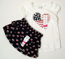 Girls Summer Outfit Sz 2T Top/ Skort Scooter Patriotic Red White Blue NWT