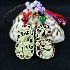 Natural Jade Dragon Phoenix Pendant Necklace Hand-Carved Couple's Jewelry Hot