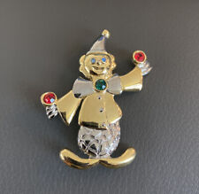 Gold And Silver Tone Clown Pin Brooch with colored cystal or glass